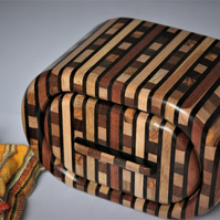 Striped wooden bandsaw trinket box