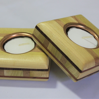 Flat wooden decorative tealight holders
