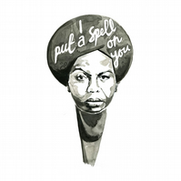 Nina Simone A4 Print from Original Ink Piece