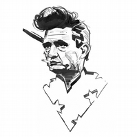 Johnny Cash A4 Print from Original Ink Piece