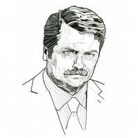 Ron Swanson A4 Print from Original Drawing