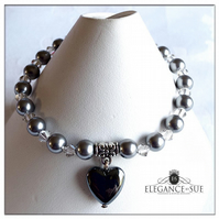Grey Pearl and Hematite Heart Stretch Bracelet