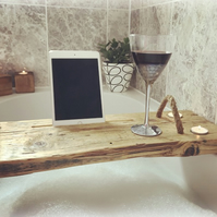 Handcrafted Wooden Bath Board - Rustic Reclaimed wood - Tablet - phone holder