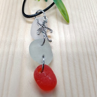 Genuine sea glass necklace with starfish charm.