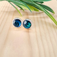 Stunning handcrafted sterling silver and paua shell stud earrings.
