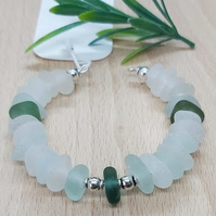 Genuine Seaham sea glass bangle.
