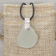 Sea glass pendant necklace.
