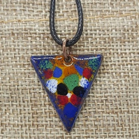 Enamel copper pendant necklace.