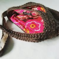 Brown Crochet Handbag