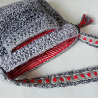 Grey Cross-Body Purse Bag