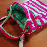 Striped Crochet Handbag