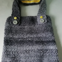 Grey Crochet Shoulder Bag