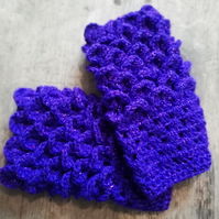 Purple Crochet Wrist Warmers