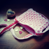 Pink Hearts and Dragon-Scales Handbag
