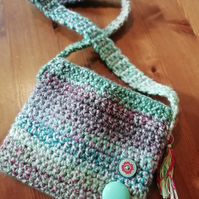 Green Crochet Button Bag