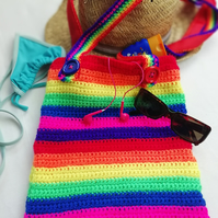 Rainbow Striped Crochet Tote