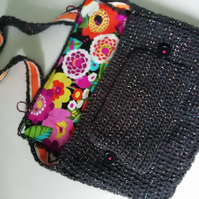Rainbow Glitter Black Satchel