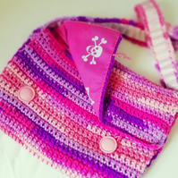 Pink Pirate Crochet Satchel