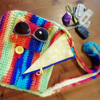 Rainbow Crochet Satchel