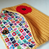 Crochet Poppy Clutch Purse