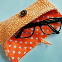 Orange Crochet Glasses Case