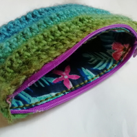 Blue and Green Crochet Purse
