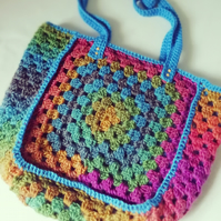 Rainbow Granny Square Shoulder Bag