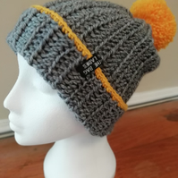 Grey Crochet Bobble Hat