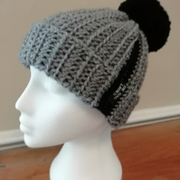 Grey Striped Crochet Hat