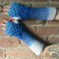 Winter Blue Crochet Wrist Warmers