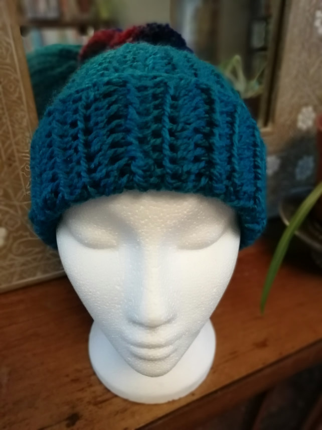 Teal Crochet Bobble Hat