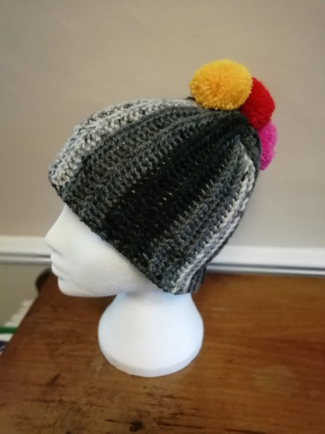 Rainbow Pompom Mohican Hat