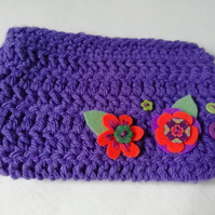 Purple Crochet Makeup Bag