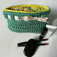 Pale Green Crochet Makeup Case
