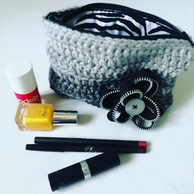 Grey Crochet Makeup Bag