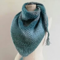 Blue Crochet Triangle Scarf