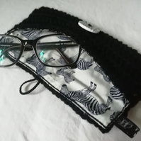 Crochet Zebra Glasses Case