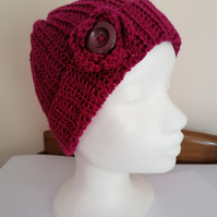 Raspberry Pink Sparkle Crochet Hat