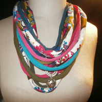 Recycled textile 'snood' necklace - 100% made from recycled fabrics.
