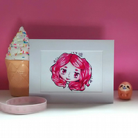 Fun Loving Pink Hair Girl Art Print, Wall Art