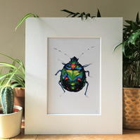 Blue Jewel Beetle Limited Edition Art Print