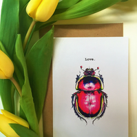 Love Bug Valentines Day Illustrated Greeting Card