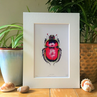 Love Bug Scarab Beetle Signed Limited Edition Valentines Art Print