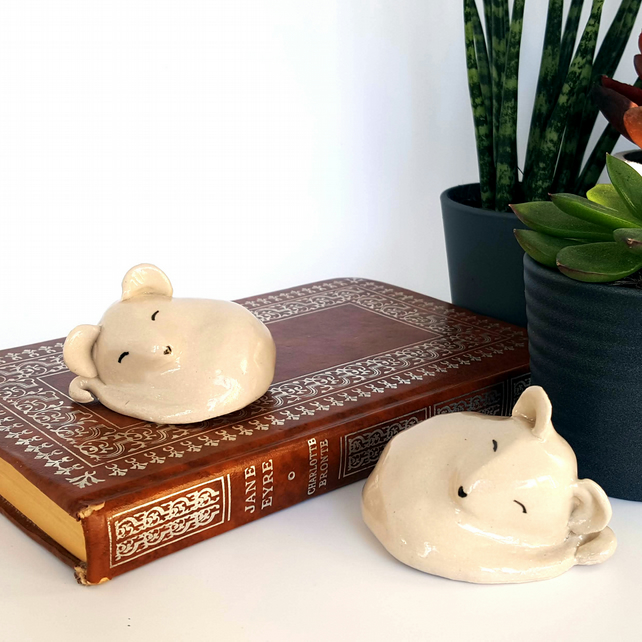 Pair of pottery mice