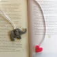 Felt bookmark and planner accessory elephant and love heart