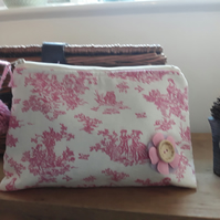 Handmade Cosmetic Bag -Toile de jouy