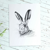 Hare print in pen and ink