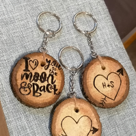 Personalised wood burnt keyrings