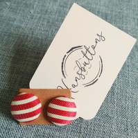 Fabric Button Stud Earrings- Red Stripe