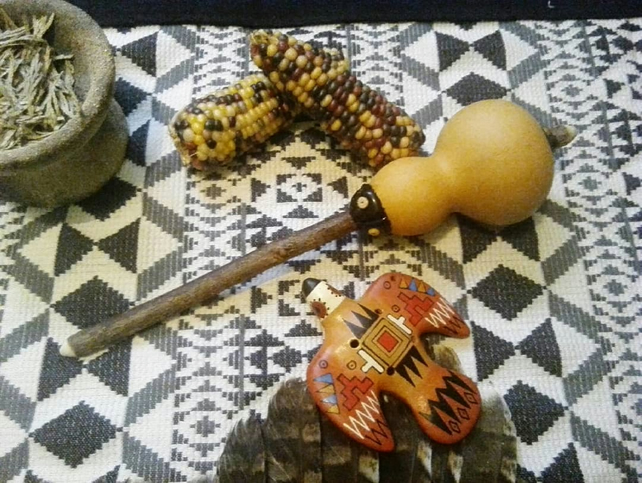 Gourd Rattle - shamanic mesa sacred sound ceremony instruments musical shakers